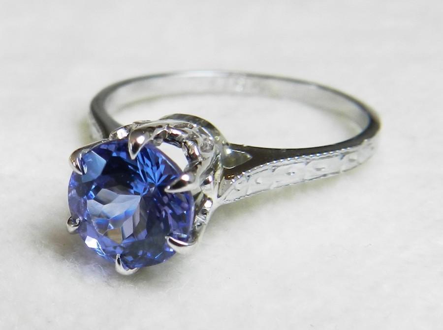 زفاف - Tanzanite Engagement Ring 18K Ring Vintage Antique Engagement Ring with New Tanzanite Stone Ring December Birthday Birthstone Edwardian ring