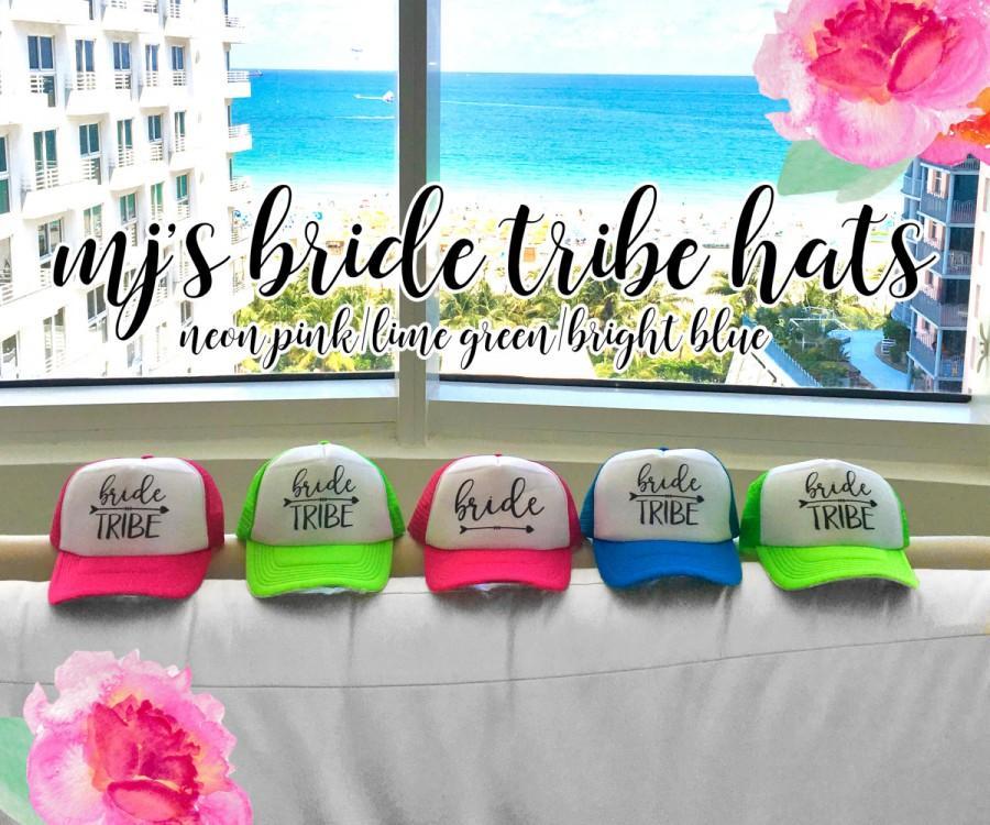NEON Bachelorette Party Hat   Bride Tribe Arrow Trucker Cap   Pool Party    Vegas Miami   Beach Vacation   Bridesmaid Hat f6ff6ddde549