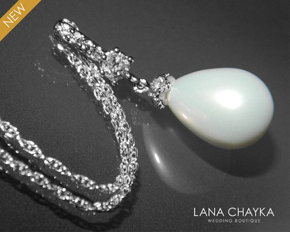 Wedding - White Teardrop Pearl Bridal Necklace Single Pearl Sterling Silver CZ Necklace Ivory Pearl Drop Wedding Necklace Bridal Bridesmaids Jewelry