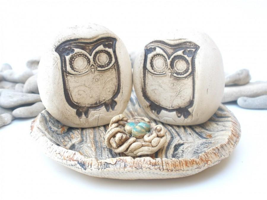 Mariage - Owls Wedding cake topper - a pair of love birds watching on their little nest Wedding decoration