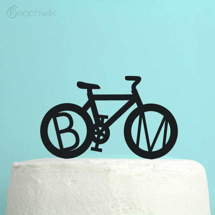 Mariage - Personalized Wedding Cake Topper - Bicycle Monogram Initials Cake Topper - Unique Custom Bike Wedding Cake Topper - Glitter - Peachwik - PT4