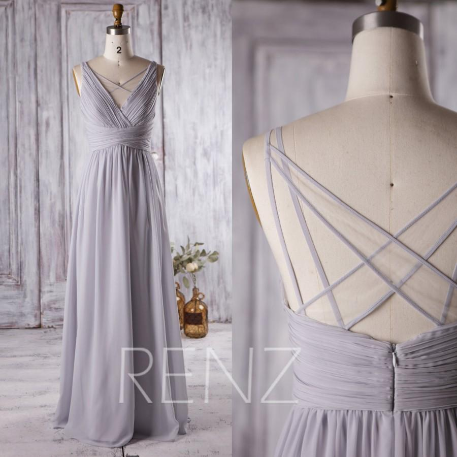 Nozze - 2016 Light Grey Bridesmaid Dress Long, V Neck Wedding Dress, Off White Mesh Spaghetti Strap Prom Dress, Formal Dress Floor Length (L126)