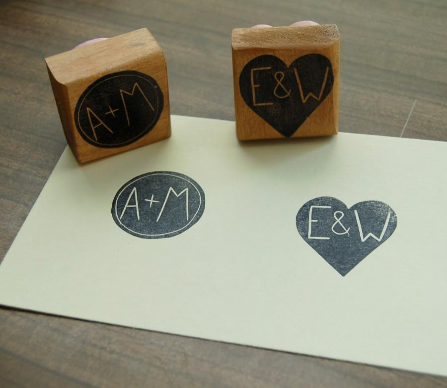 Wedding - Custom Couple's Initial Stamp - 1.5 inch Square