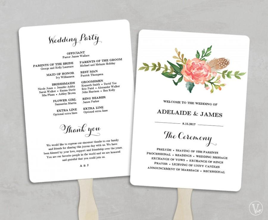 Printable Wedding Program Template Fan Programs Diy Fans Editable Text 5x7 Blush Peony