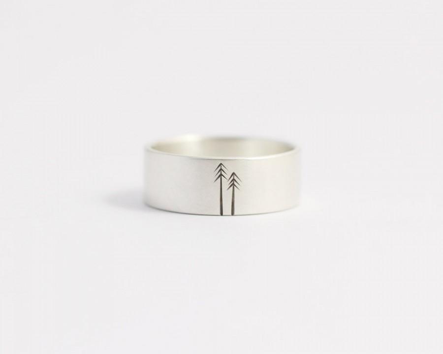 Mariage - Wedding Band Wedding Ring Sterling Silver Woodland Wedding Mens Wedding Ring 8mm