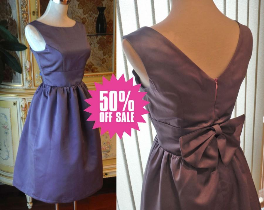 Audrey hepburn dress purple bridesmaid dress 50s dress for Wedding dresses for tall plus size