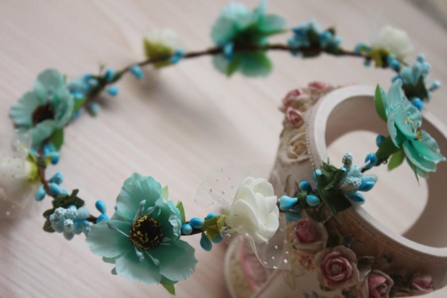 Wedding - Teal Flower Crown, Bun Crown, Turquoise Flower Headband - ballerina headband-Festival Flower Crown-Beach Flower Crown