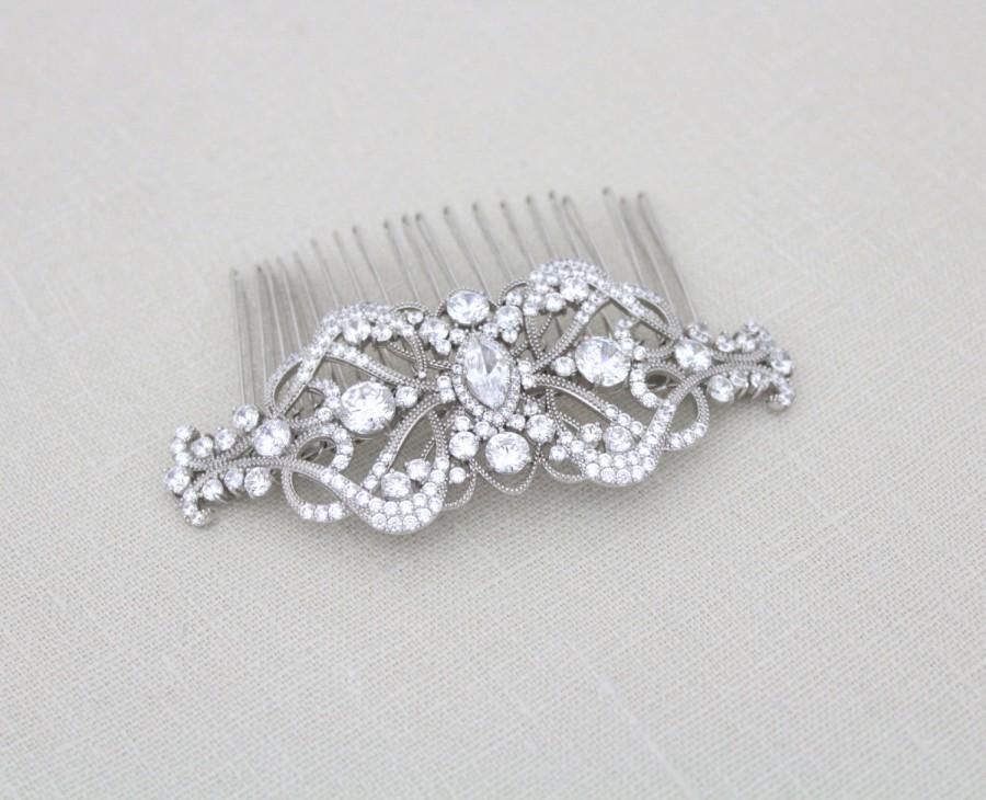 Свадьба - Bridal hair comb, Wedding headpiece, Wedding hair clip, Art Deco hair comb, Hair accessory, Vintage style Swarovski hair comb, VICTORIA