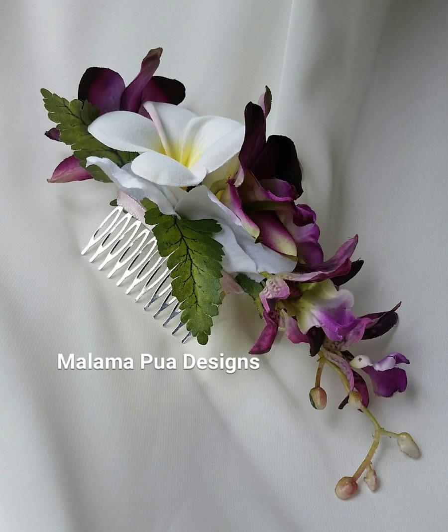 Silk Flower Hair Comb Hawaiian Orchids Plumeria Bridal Pearls