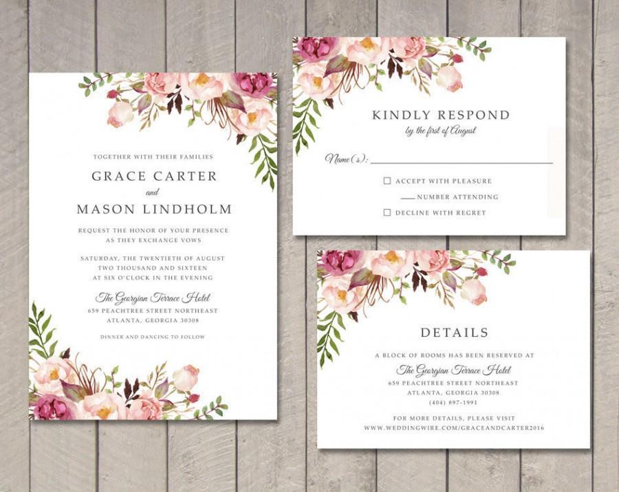 Floral Wedding Invitation, RSVP, Details Card (Printable) By Vintage ...