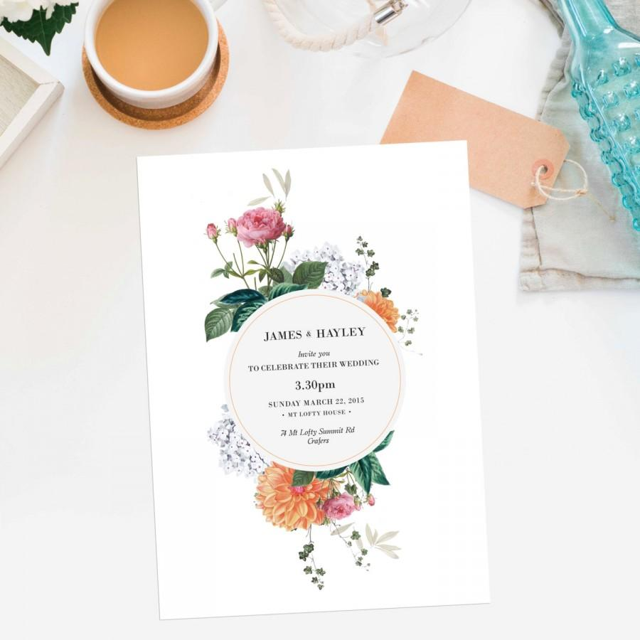 Mariage - Vintage Botanical Wedding Invitations Wedding Stationery Floral Flowers Custom Made Botanicals Clover Blossoms Pretty Pink Orange White