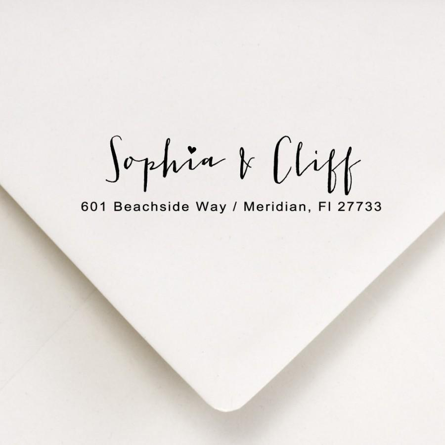 Return Address Calligraphy Stamp Envelope Addressing Couples Wedding DIY Inker Bride Rustic Invitation Stamper