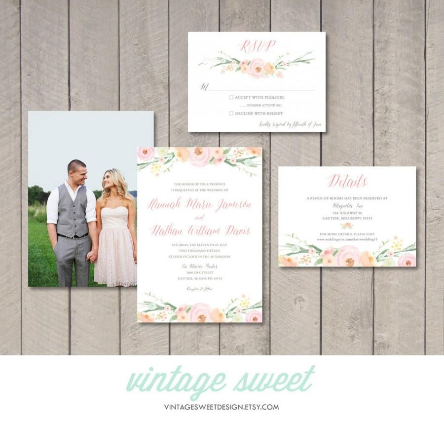 Vintage Floral Wedding Invitation, RSVP, Information Card (Printable ...