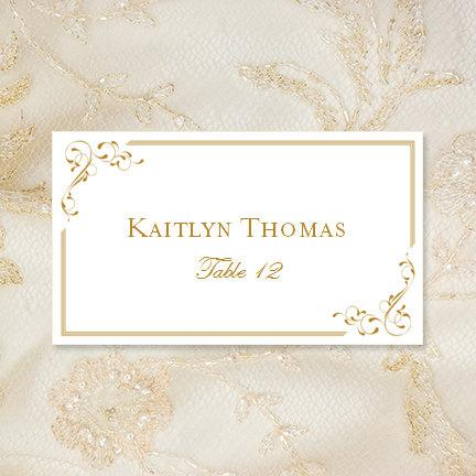 Printable Place Cards Elegance In Gold Editable Worddoc Tent Card - Wedding place card template word