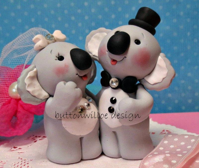 Hochzeit - Koala Bear Wedding Cake Topper and Keepsake Animals