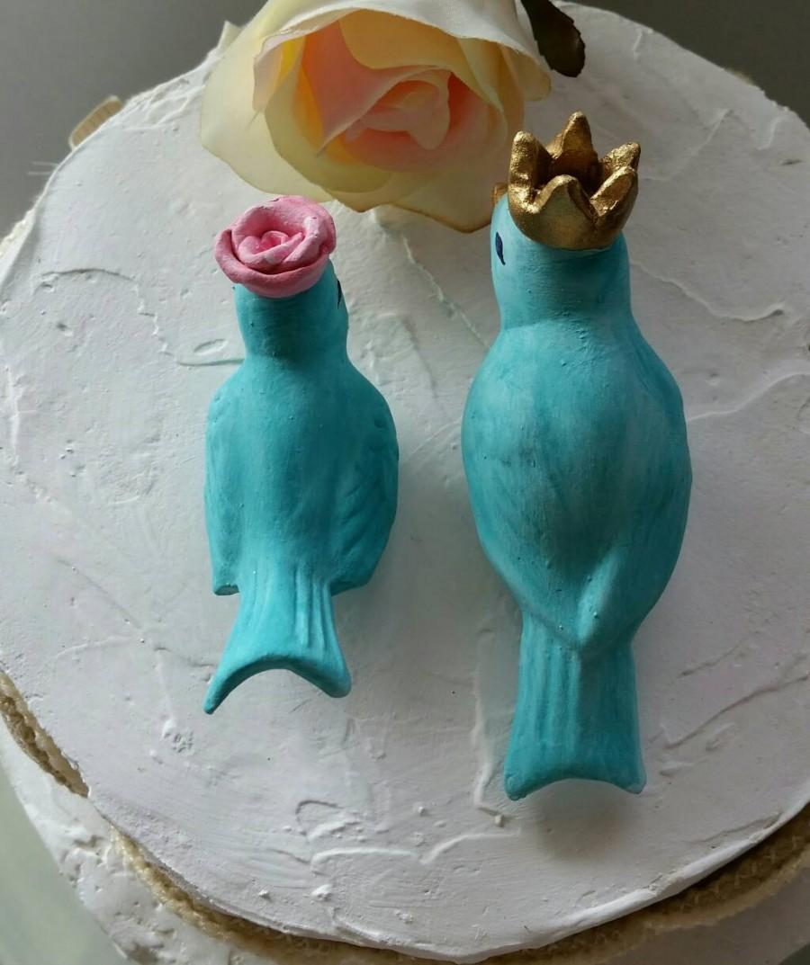 aqua birds wedding cake topper with crown and flower vintage