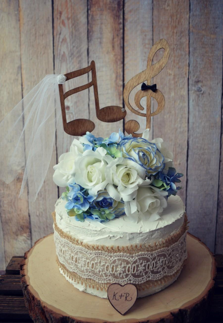 Hochzeit - Music lover wedding cake topper-music notes-musician-wedding cake topper-music lover-instruments-bride and groom-custom-music notes