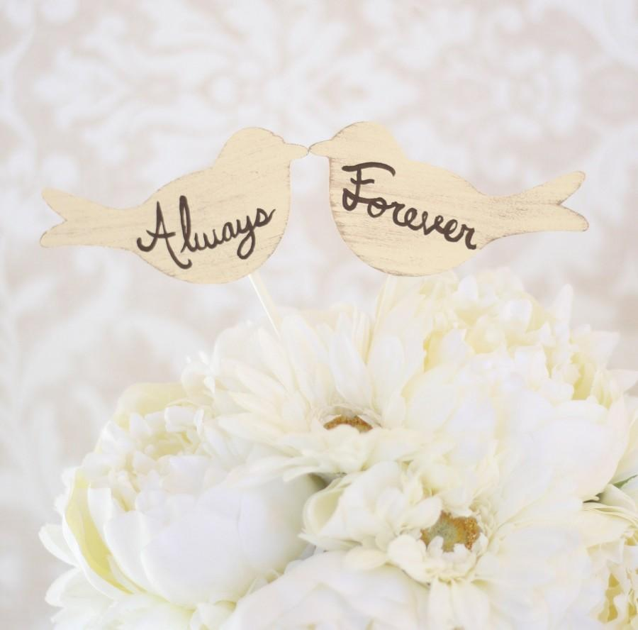 Wedding - Wedding Cake Topper Love Birds Always and Forever (item P10550)