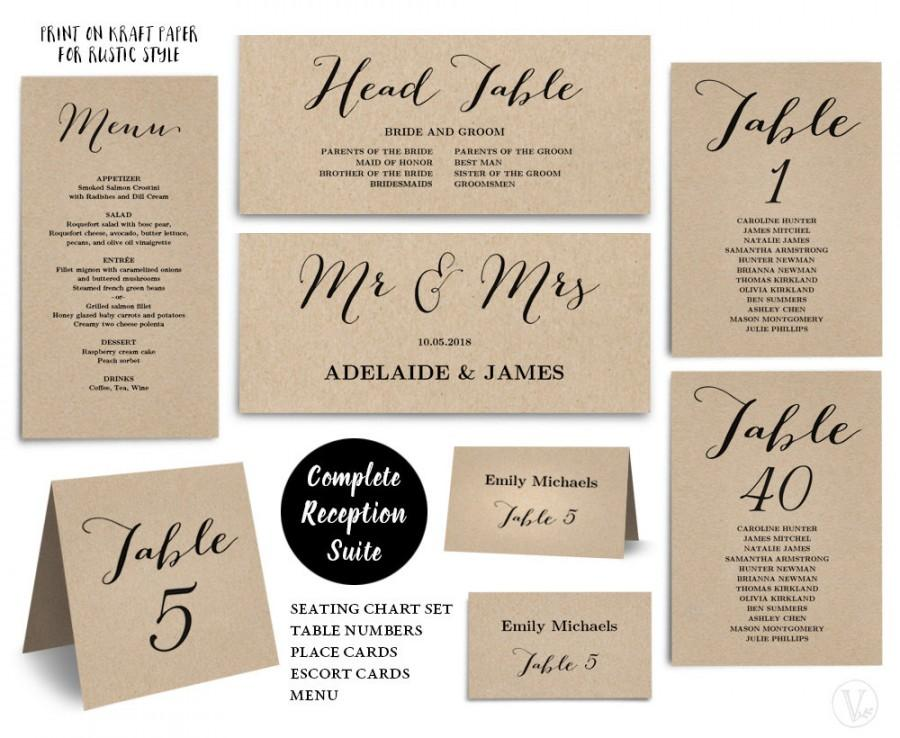 Printable Wedding Seating Chart Template, Plus Table Numbers, Menu