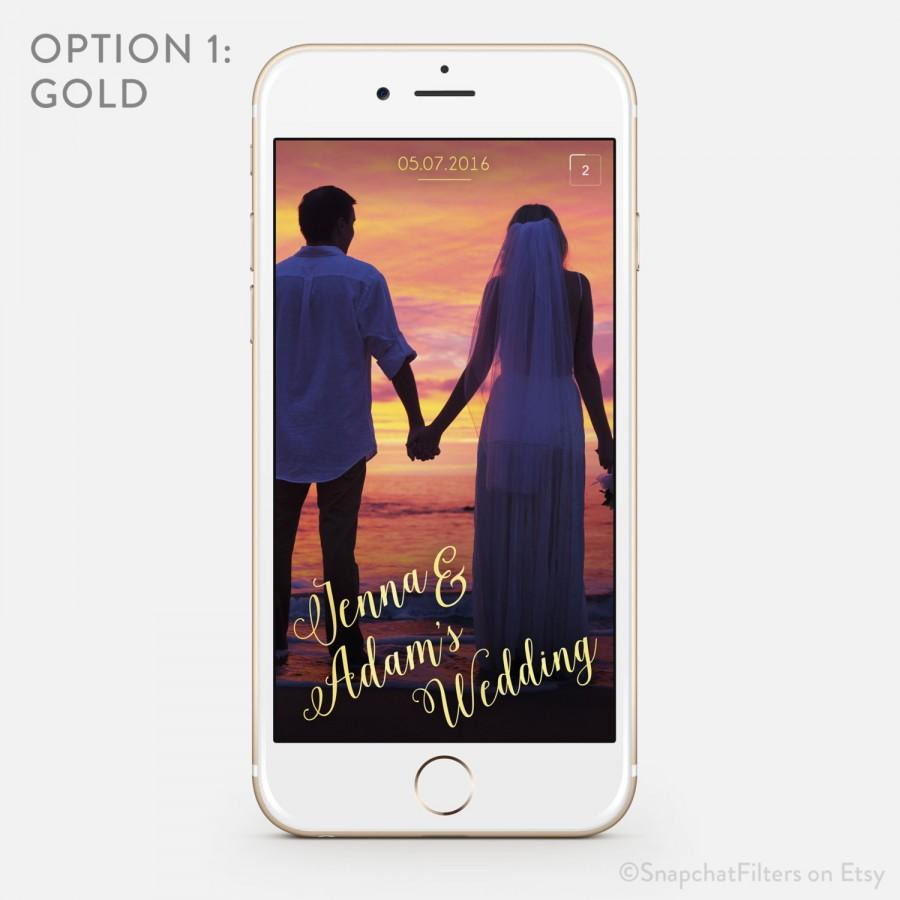 Свадьба - Romantic Snapchat Wedding Geofilter Personalized Geo Filter Custom Metallic On-Demand Elegant Simple Classic Customized Names