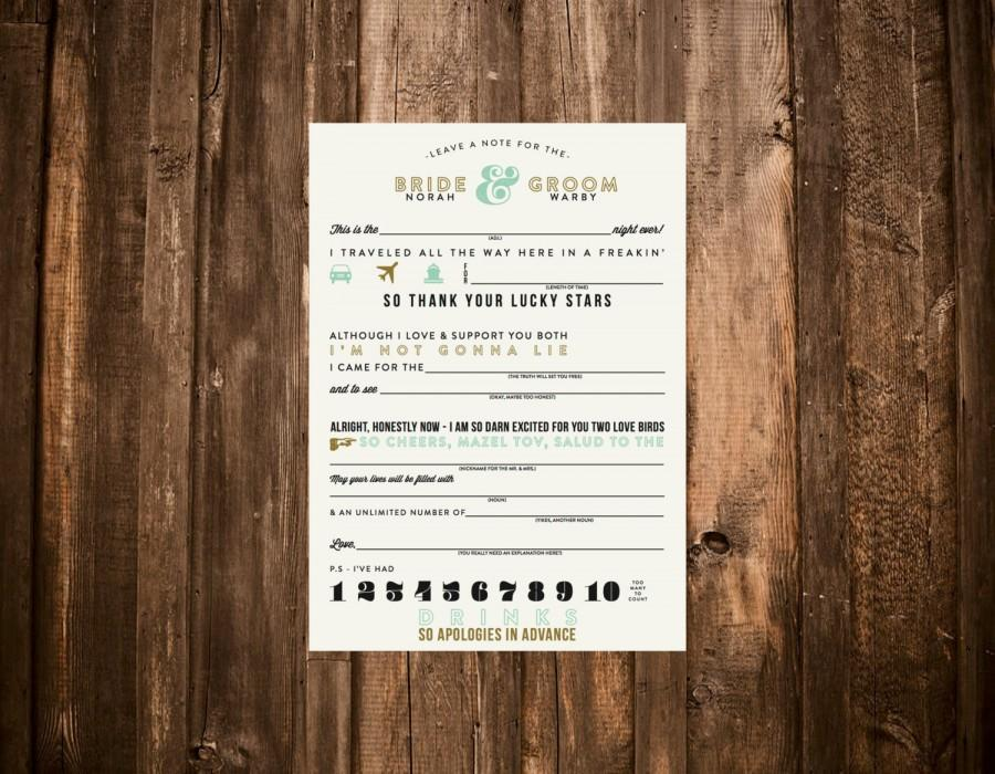 Свадьба - Funny Wedding Guest Mad Lib Card // 5x7 DIY Printable // Modern Wedding, Wedding Table Card, Wedding Guest Game, Mad Libs for Weddings