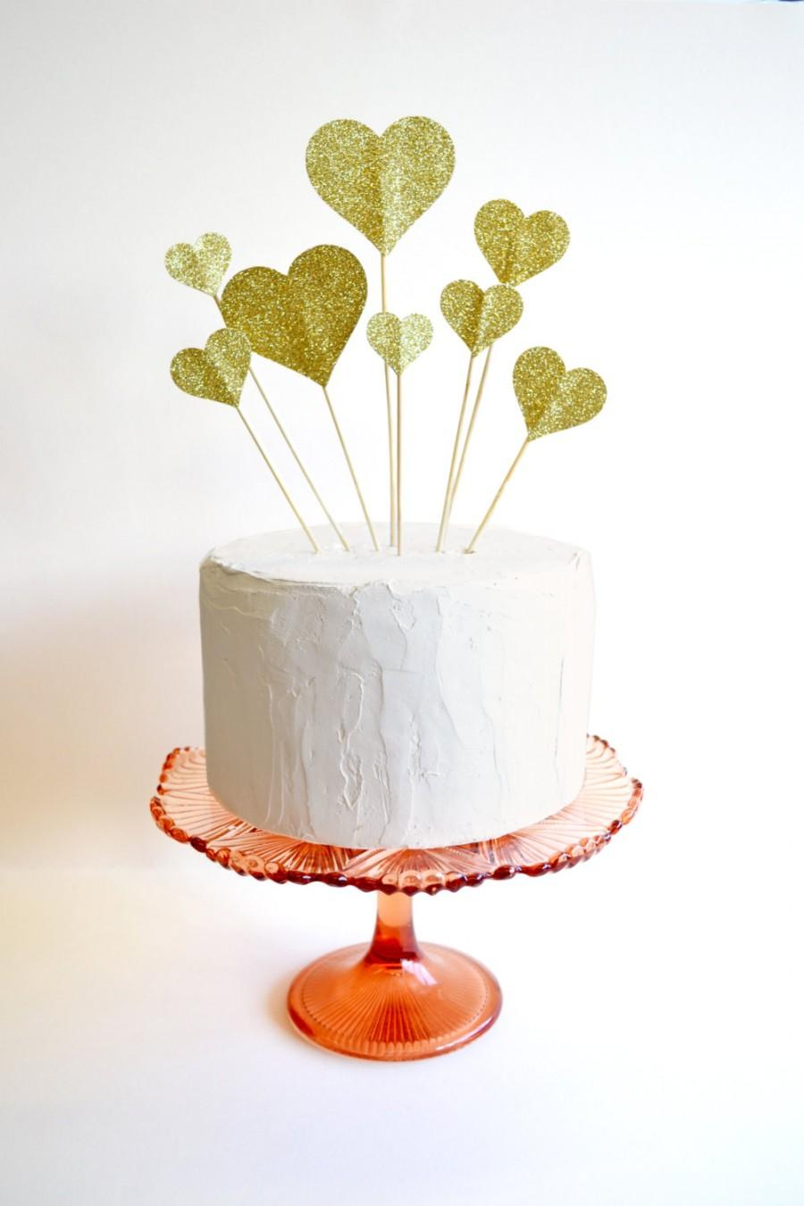 Wedding - Glitter hearts cake topper or wedding decoration