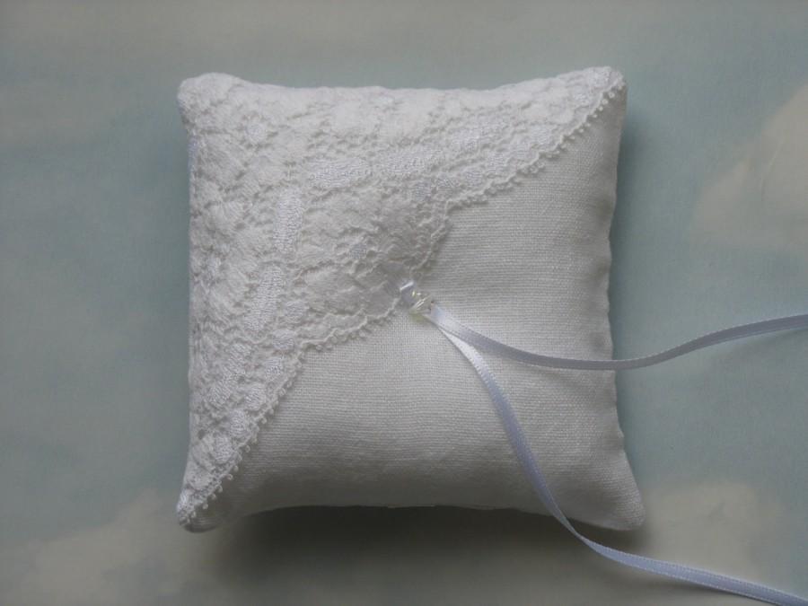 Wedding - White linen ring pillow. Wedding ring cushion.