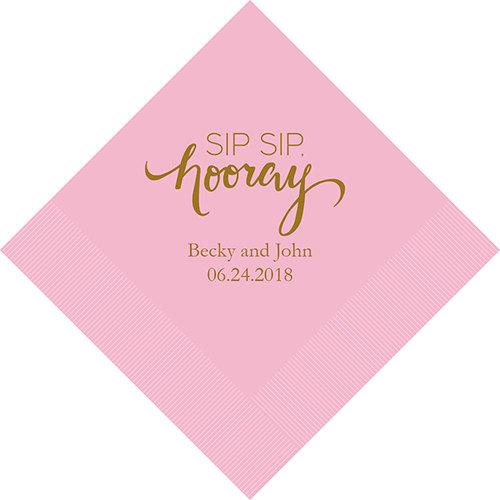 Wedding - Set of 100 Sip, Sip, Hooray Wedding Napkins - Personalized Wedding Napkins - Wedding Cocktail Napkins - Luncheon Wedding Napkins - Custom