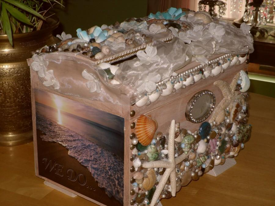 Mariage - Wedding Card Box, seashell, ocean, beach theme,swarovski crystals,beads,pearls,crystal picture frame for Bride and Groom,white floral ribbon