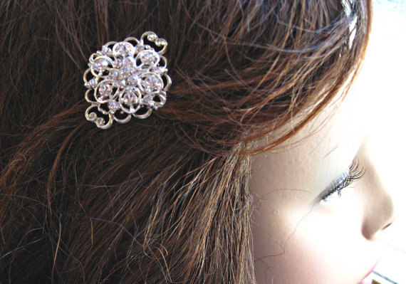 Wedding - Your Choice, 2 Crystal Hair Pins, Hair Barrettes or Combs, Rhinestone Hair clips,Bridesmaids Gift, Bobby pins, Silver Crystal, Wedding Hair