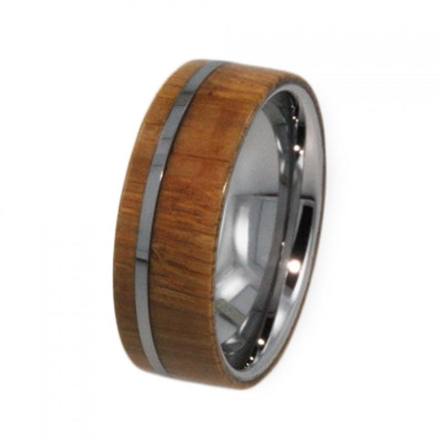 Mariage - Mens Tungsten Wedding Band, Wood Ring with Flat Profile, Custom Waterproof Ring