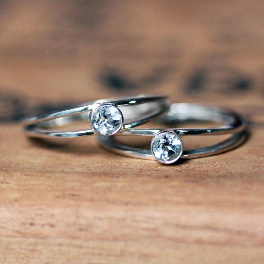 Womens Engagement Ring Set Promise Ring Set Silver Engagement