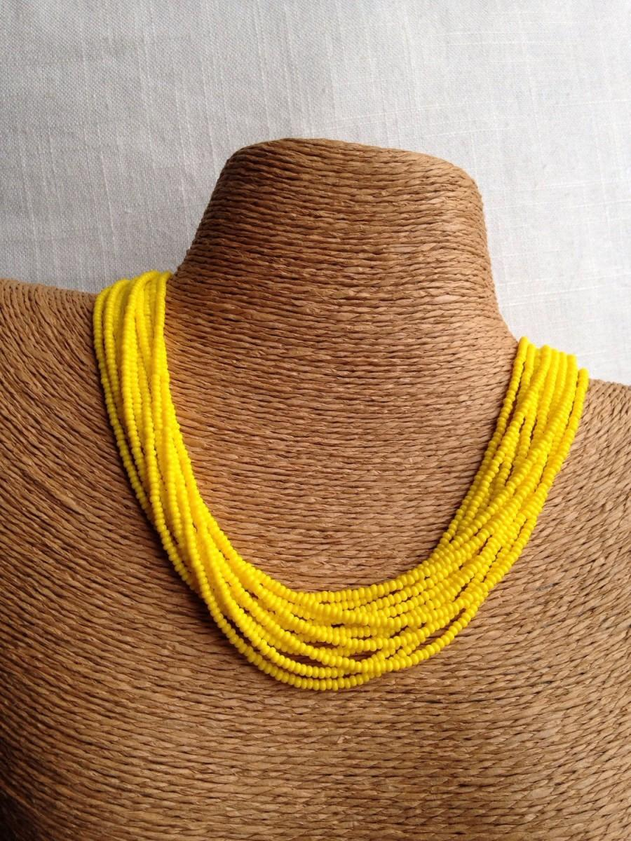 Mariage - Yellow beaded necklace, yellow seedbead multi-strand necklace, yellow bridesmaids, yellow necklace, bridesmaids necklace, yellow multistrand