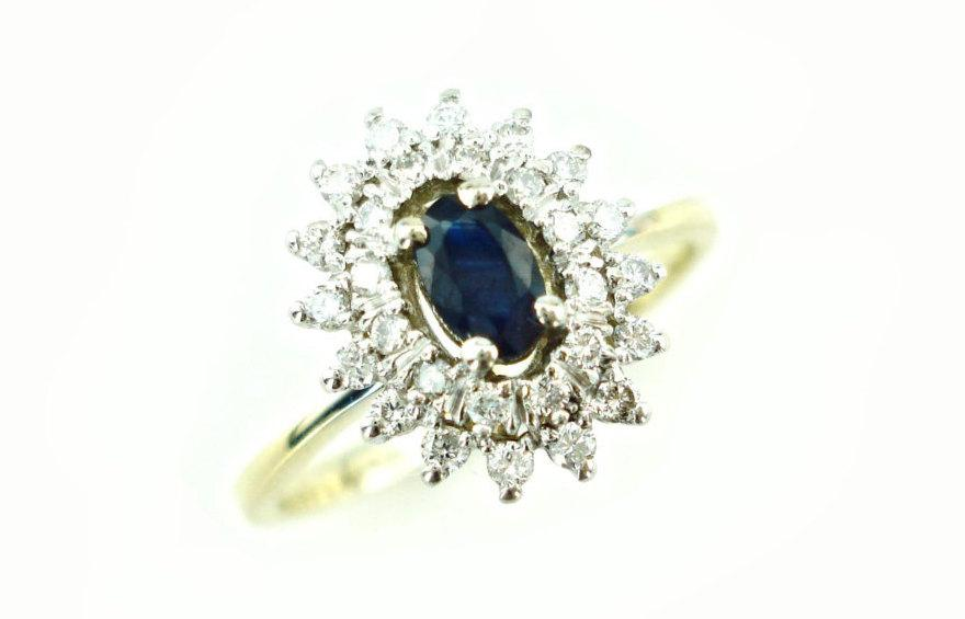 Mariage - Sapphire Engagement Ring, Diamond and Sapphire Ring, Sapphire and Diamond Ring, 14K Anniversary Ring, 14K Diamond Ring, Fast Free Shipping
