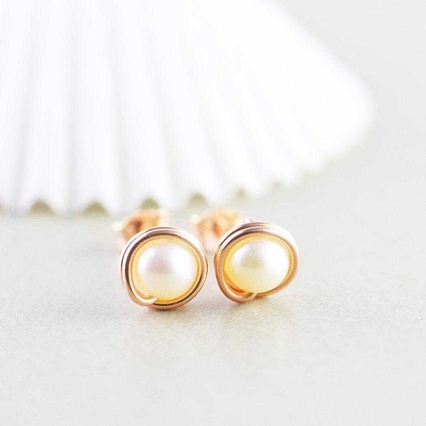Mariage - Pearl Studs, Rose Gold Earrings, Pearl Posts, June Birthstone, Bridesmaid Gift