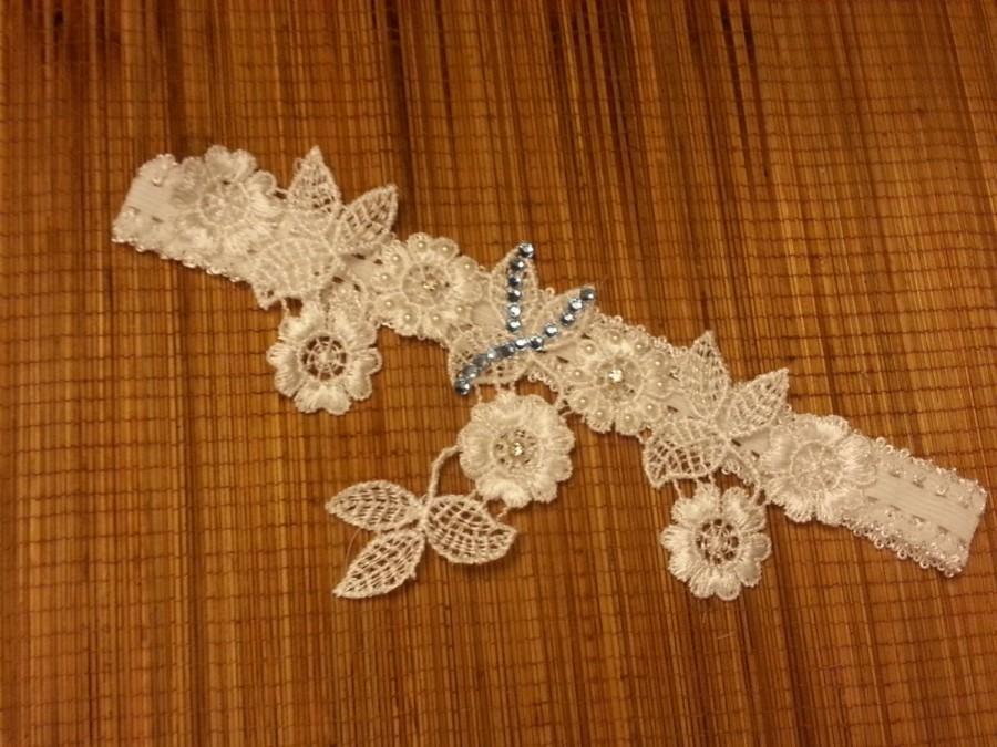 Hochzeit - Wedding Garter-Bridal Garter White Ivory something blue garter crystal-R-L-X.L Vintage lace garter.