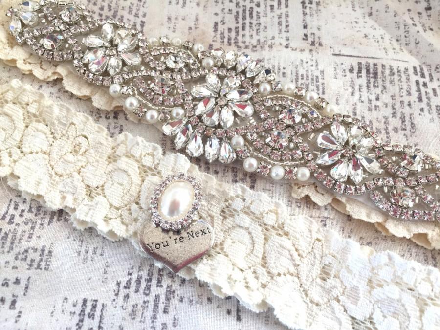 Hochzeit - Crystal Garter Set, Vintage Wedding Garter Set - Pearl Wedding Garter, Pearl Garter Set, Garter Set, Vintage Garter, Keepsake Garter