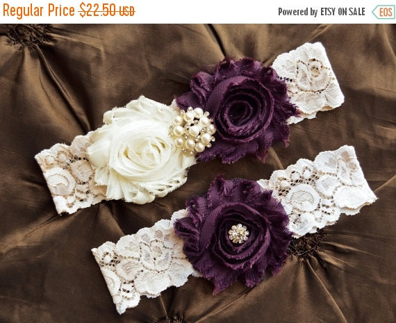 Свадьба - SALE- PLUM Wedding Garter- Deep Purple Garter-Plum Garter Set-Wedding Garter- Bridal Garter-Bridal Garter Set- Garter Belt-Garter- SWIG-P150