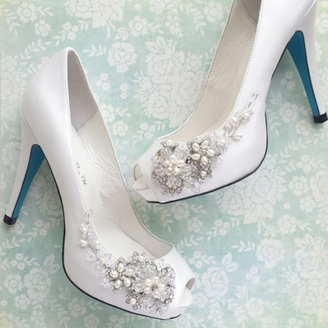 49c152dfa Something Blue Wedding Shoes With Handmade Crystal Blossom And Beaded Vine  White Or Ivory Peep Toe Pumps - New #2242770