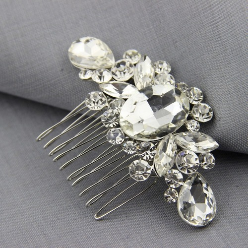 Wedding - Art Deco Rose Gold Bridal Hair Comb With Rhinestones