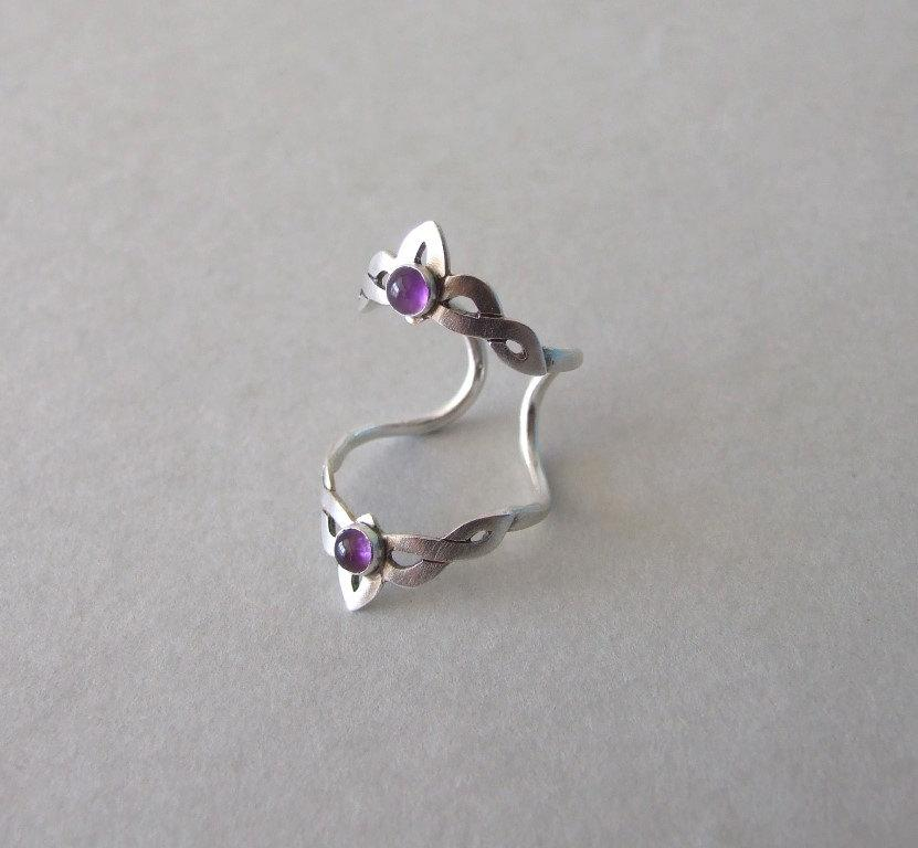 silver knuckle ring with amethyst knuckle ring alternative engagement ring celtic ring silver ring elvish ring amethyst ring - Elvish Wedding Rings