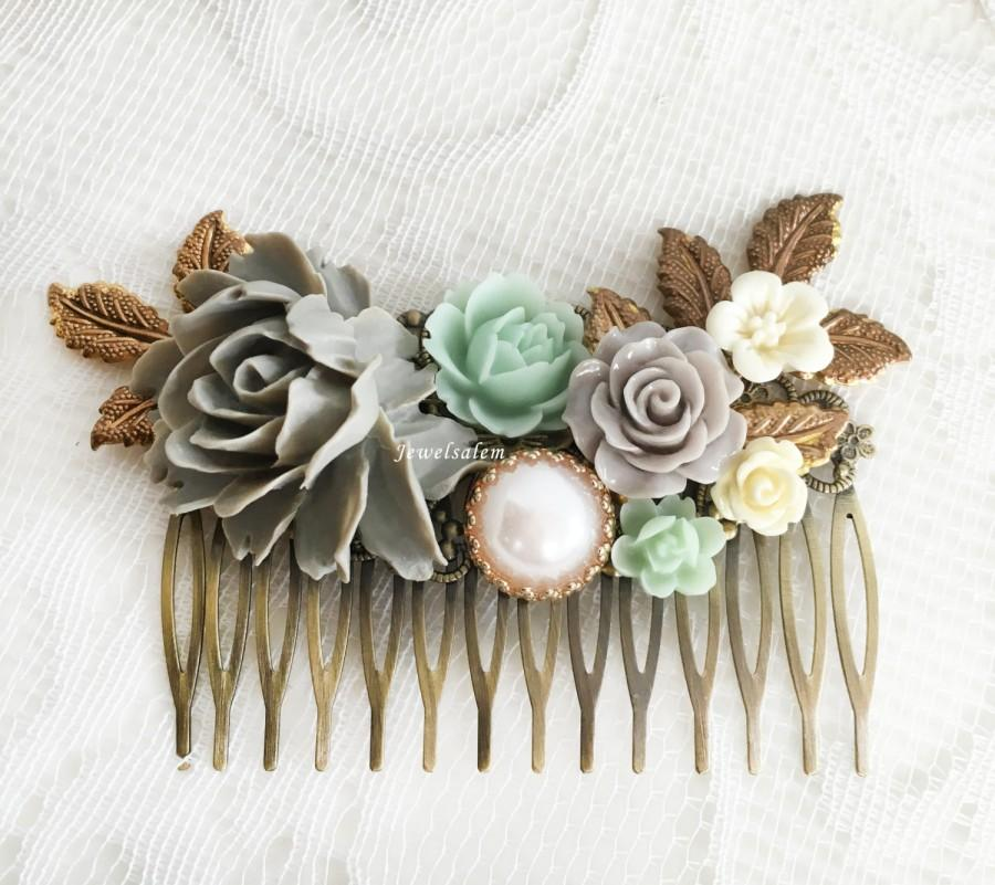Mint Green Grey Wedding Hair Comb Rustic Bridal Hair Slide Romantic ...