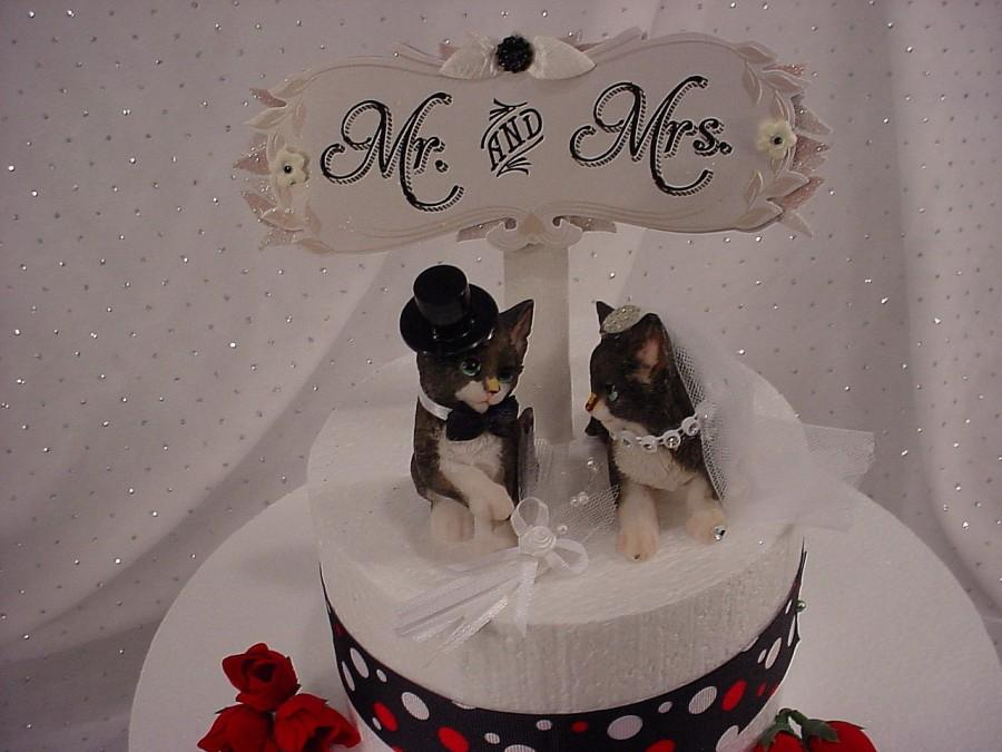 Cat Pet Animals Wedding Cake Toppers Fun Mr Loves Mrs Bride And