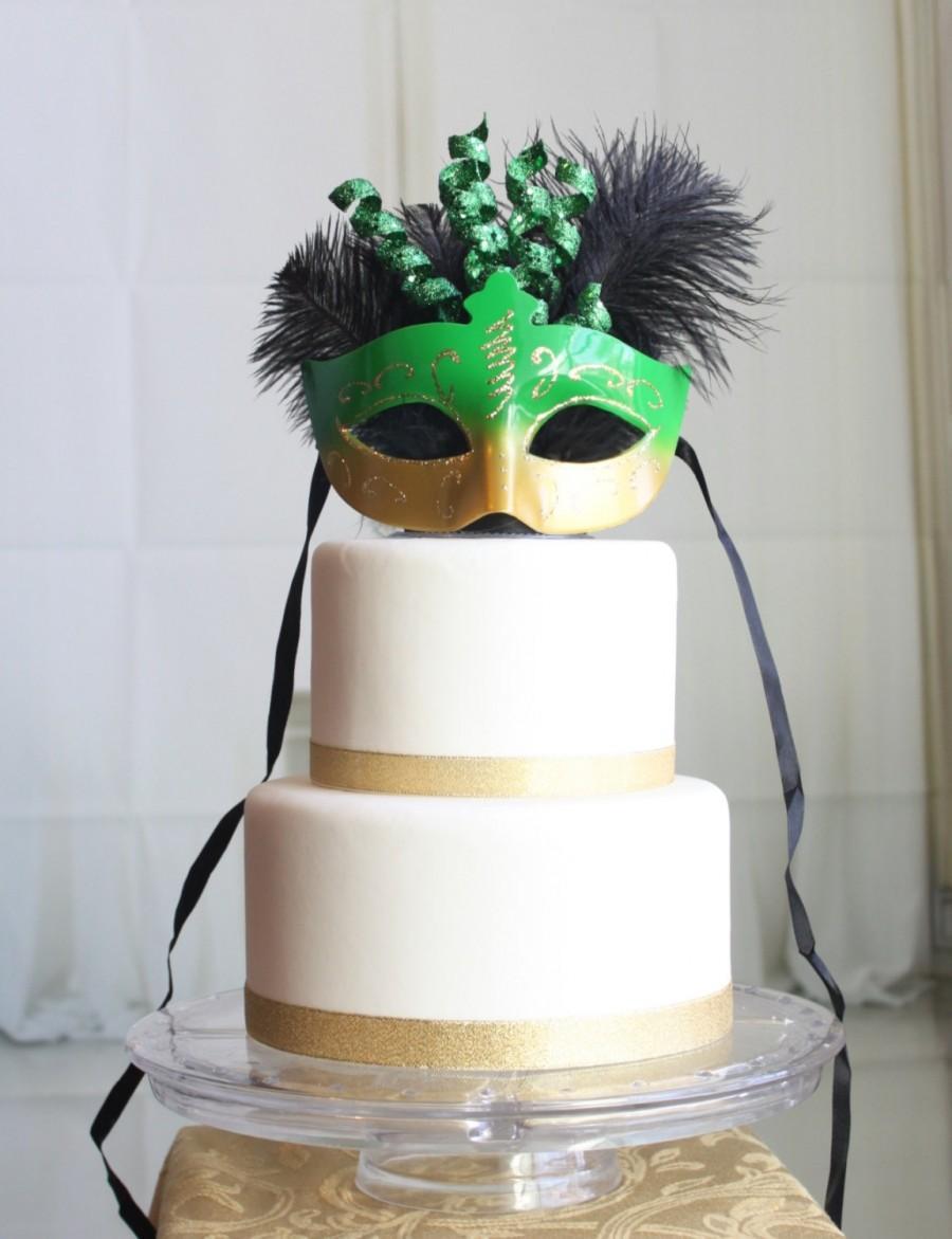 Mardi Gras Green And Gold Masquerade Cake Topper #2525079 - Weddbook