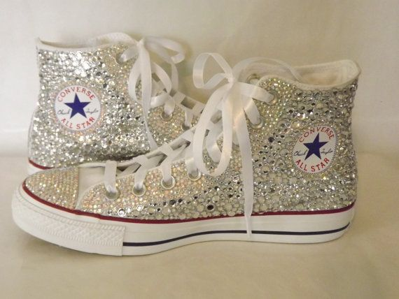 7ba69490bd1435 CUSTOM Bling Rhinestone Totally Covered Converse Chuck Talor High Top  Sneakers