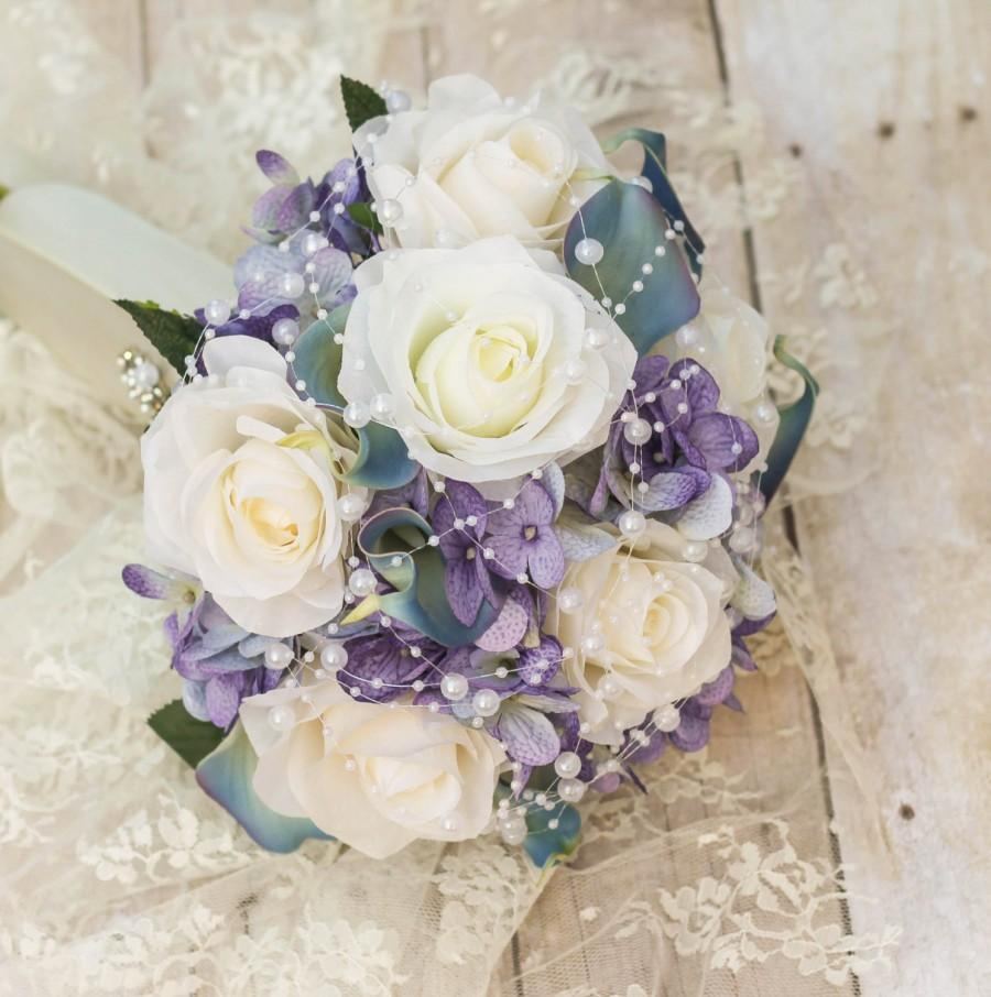 Blue And Purple Bridal Bouquet Pearl Rose Bouquet Romantic