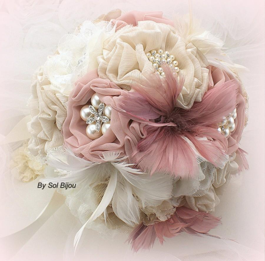 Brooch Bouquet Ivory Blush Rose Dusty Champagne Tan Beige Vintage Style Lace Elegant Wedding Feather Pearls