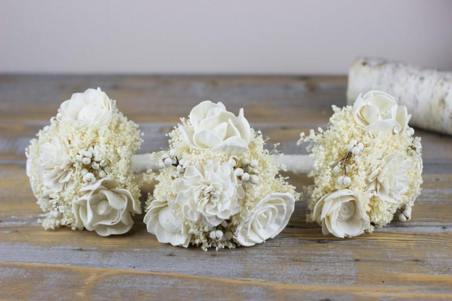 Свадьба - Handmade Weeding Bouquet, Rustic Woodland Bridesmaids Bouquet, Ivory Tallow Berries Bouquet, Sola Flowers Bouquet, Alternative Bouquet