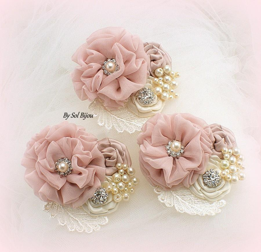 Mariage - Corsage, Ivory, Rose, Cream, Pink, Blush, Button Hole,Mother of the Bride, Groom,Bridesmaids, Maid of Honor, Elegant Wedding, Vintage Style