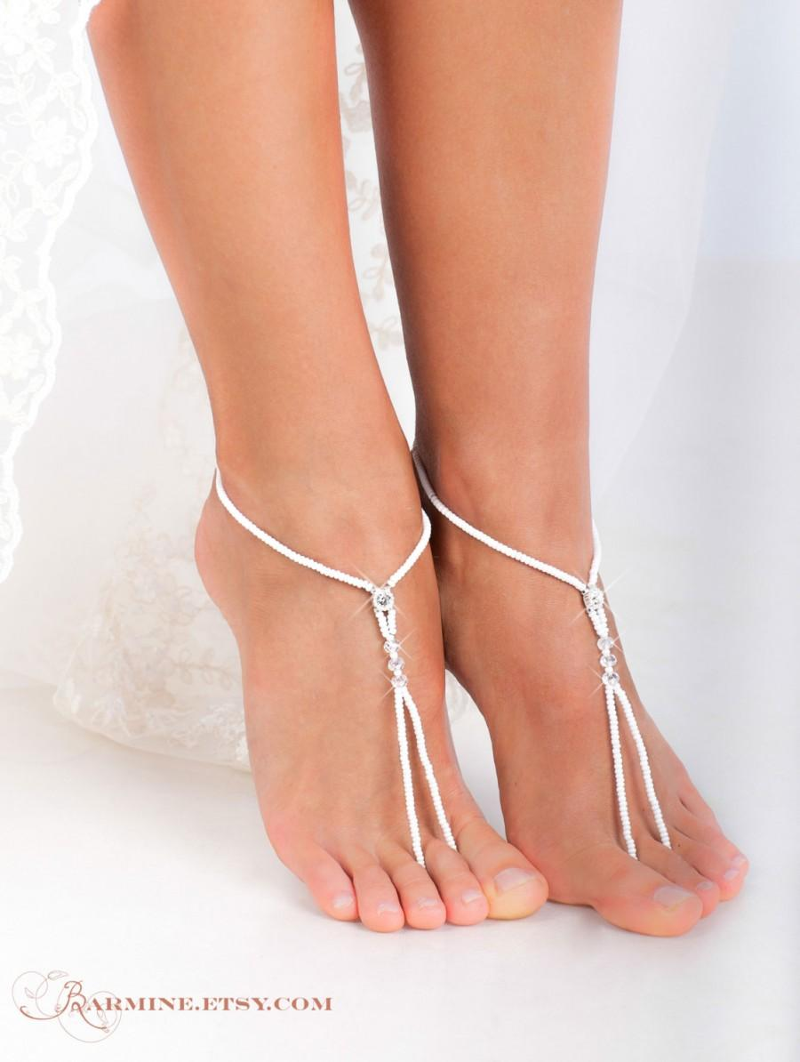 White Beaded Barefoot Sandals Feet Jewelry Beach Wedding Barefoot